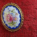 Broche ancienne porcelaine ribes limoges fleurs