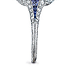 A belle époque colored diamond and diamond ring