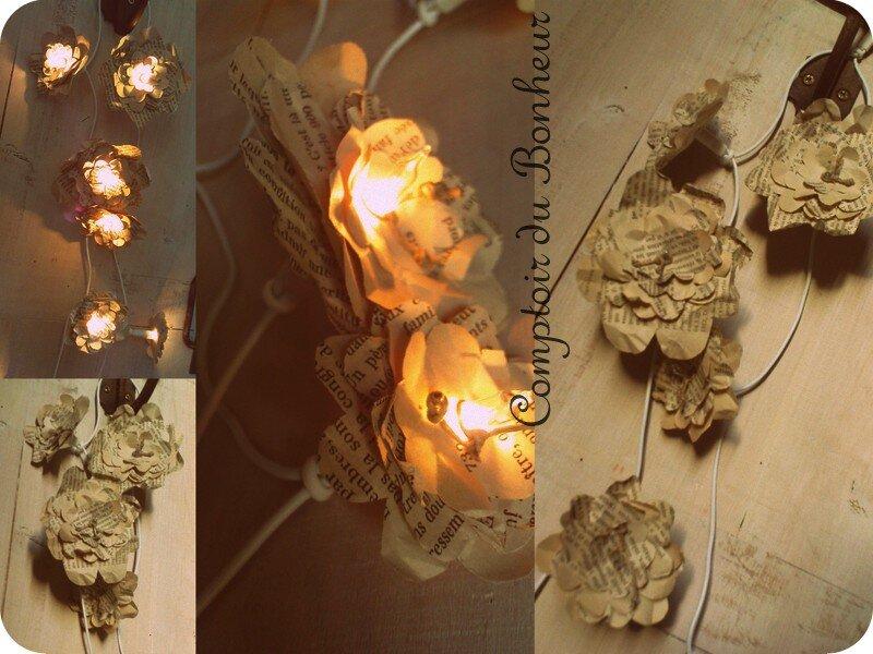 guirlande lumineuse de fleurs en papier comptoir du bonheur la boutique. Black Bedroom Furniture Sets. Home Design Ideas