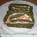 Roule d'epinard, fromage ail et fines herbes et saumon fume