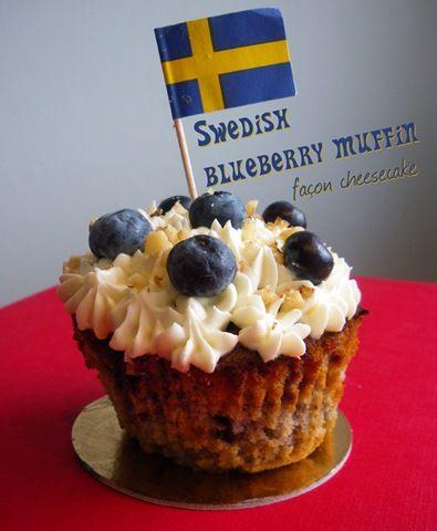 Mimine en Suède  Swedish blueberry muffin, façon cheesecake