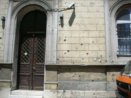 Bosnie, Sarajevo, traces des combats sur une maison
