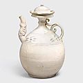A white glazed ewer and lid with underglaze iron decoration, trần dynasty, 13th-14th century