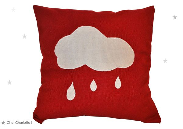 Coussin rouge Nuage gris (1bis)