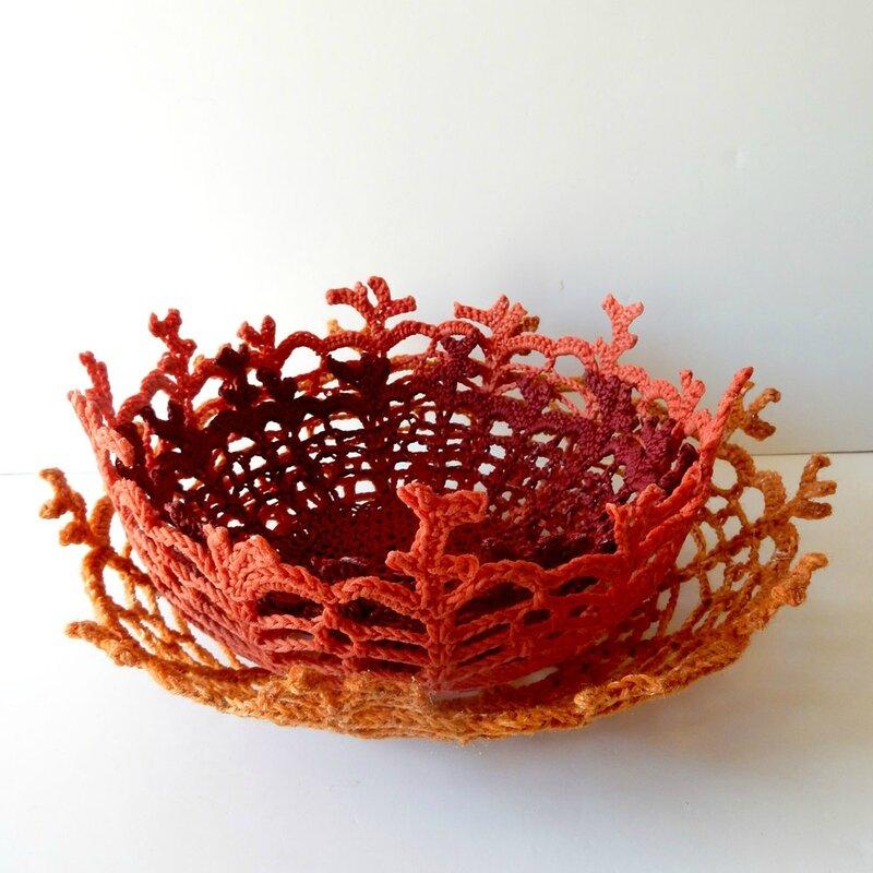 corbeilles corail - crochet déco - Anisbee