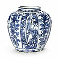 A small blue and white lobed jar, Ming Dynasty, 16th-early 17th century