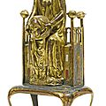 French, limoges, late 12th-early 13th century style, reliquary with st. valerie holding her head
