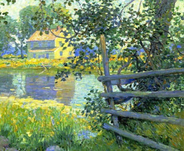 William-Chadwick-House-by-the-Stream-1917-600x495