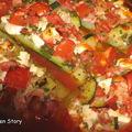 Courgettes gratinées à la tomate et à la fêta, ou le retour de la courgette