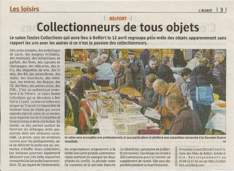 Salon 2015 Article L'Alsace 10 avril 2015 R