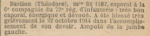 citation theodore bastien 72e RI