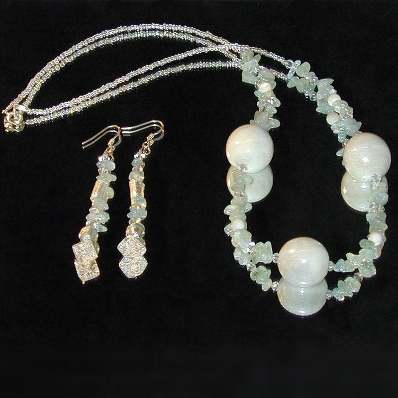 Creation Bijoux Fantaisie : Creation bijoux parure aigue marine nacre fantaisie
