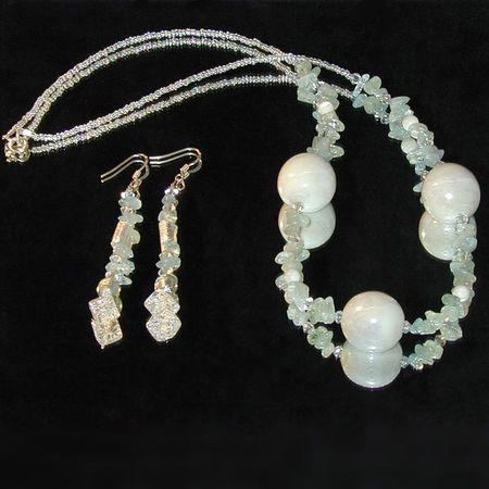 creation bijoux fantaisie parure ceramique aigues-marine