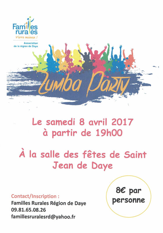 Photo affiche Zumba party avril 2017