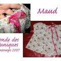 maud (patron citronille) pour la 1ère ronde des tuniques, plumetis fleuri et ruban organza