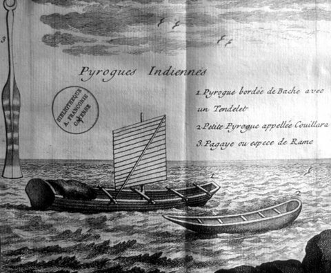 PIROGUES AM2RINDIENNES DESSINES en 1743