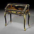 A rare french mid-19th century ebony and ebonised japanese lacquer bureau à dos d'âne, possibly by louis auguste alfred beurdele