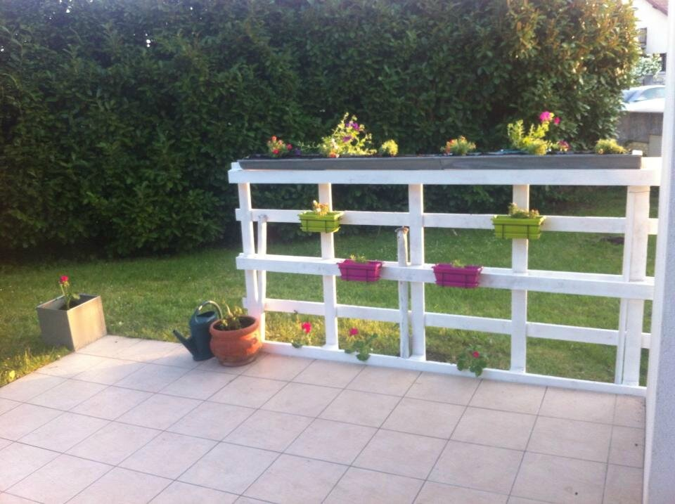 Jardiniere avec palette bac a fleur brise vue avec - Jardiniere avec palette ...