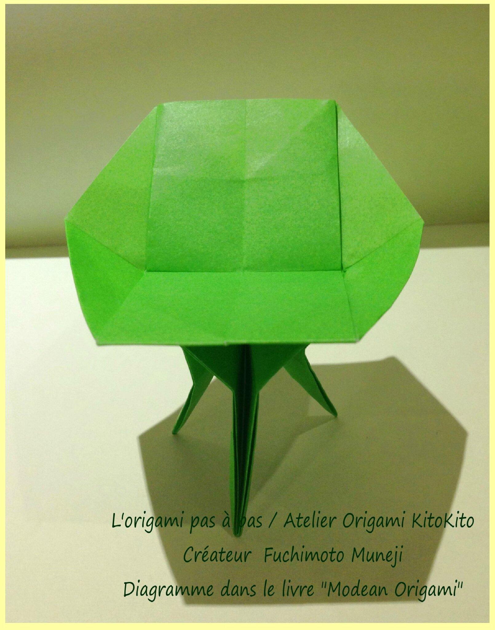 Chaise 5 l 39 origami pas pas atelier origami kitokito for Chaise origami