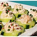 Bouchées apéritives concombre crabe mayonnaise aux baies roses