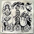 Encre de Chine, papier moulin coton fait main 440 grs format 20