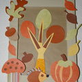 collages d'automne ,hrissons,champignons,feuilles etc..... 