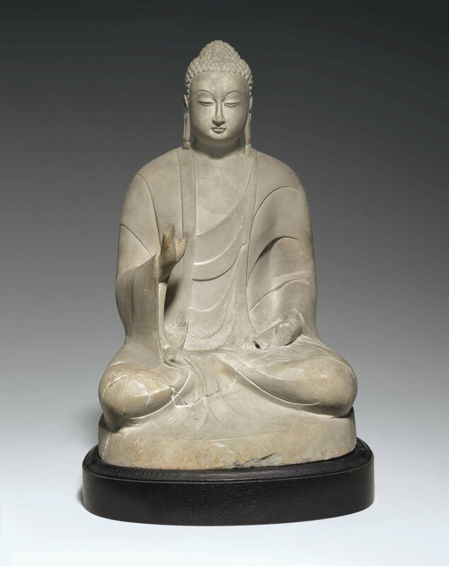A white marble figure of seated Buddha, Northern Qi-Sui dynasty, 6th century or later