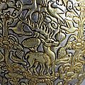Silver gilt vase (detail). tibet, 8th century ad.