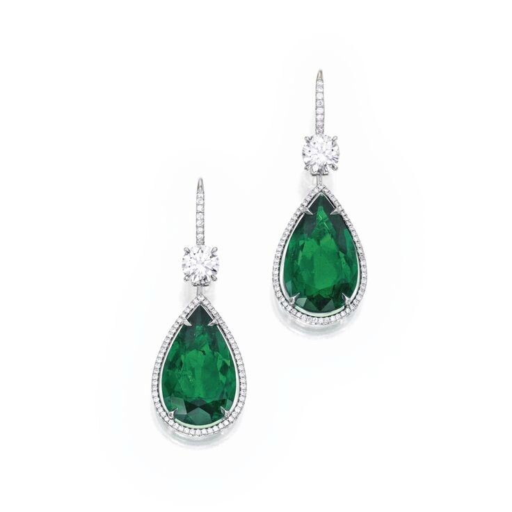Pair of Platinum, 18 Karat White Gold, Emerald and Diamond Earrings