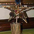 Etoile Mireille les EcoKdos Espace Citoyen Salon - Bricolage avec morceaux de bois et autres matériaux de récupération - Décor de table Noël - Déchets branchage bois