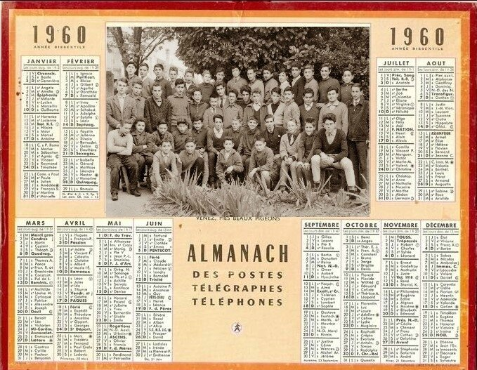1960 calendrier montage