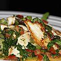Salade de solettes, spaghettis de courgettes, sauce agrume