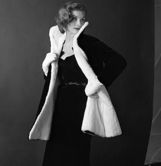 Dovima in brocade dinner dress by Adele Simpson, 1953 ...