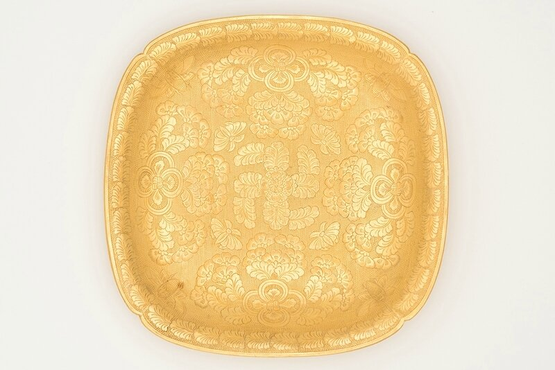 Square lobed gold dish with cased insects, flowers, knotted ribbons and swastika (wan, '10,000'), China, Tang dynasty, ca