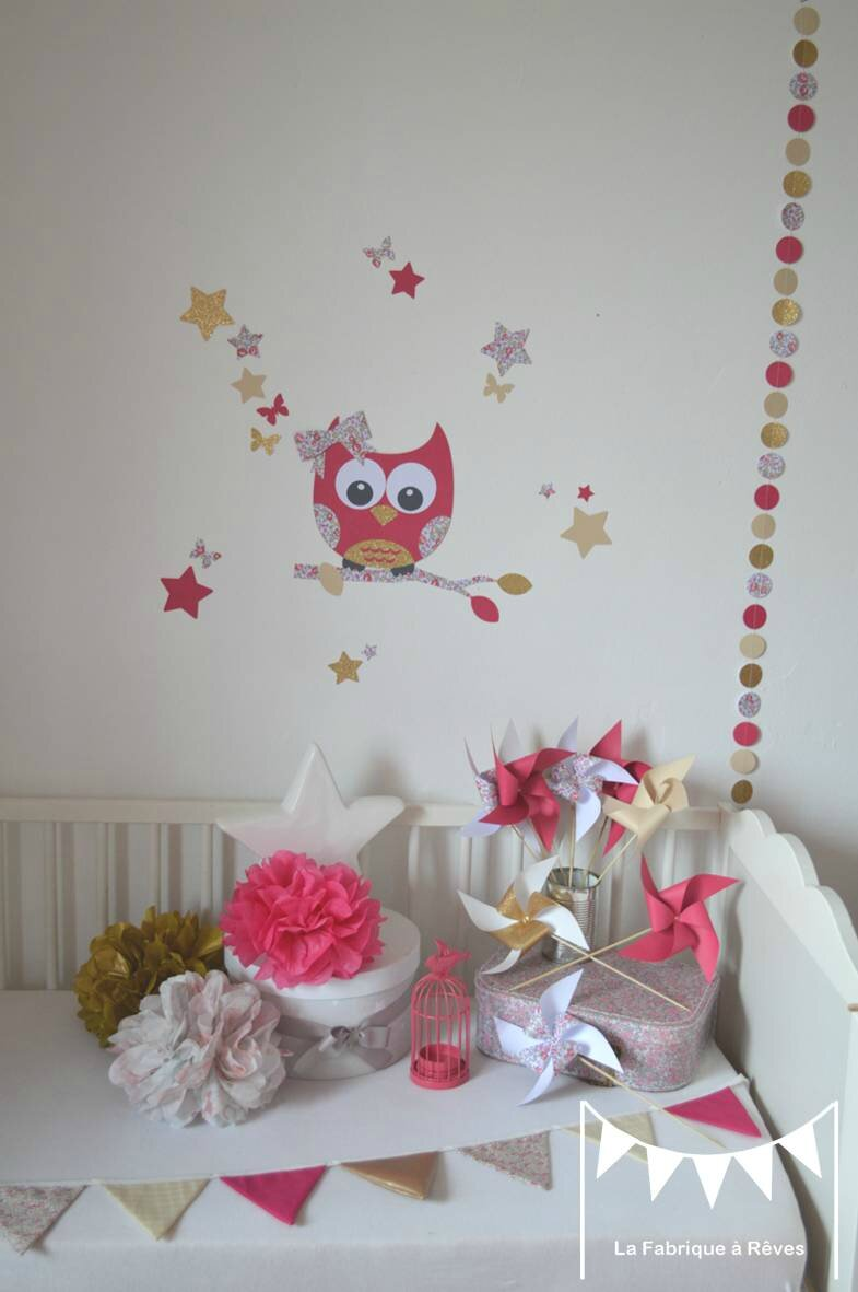 Decoration chambre fille hibou for Deco chambre fille rose