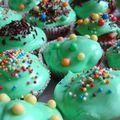 Cupcakes pépites de chocolat nappage vert