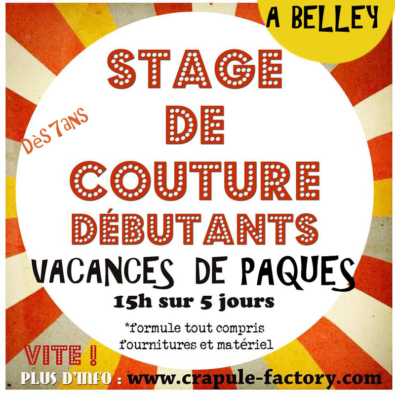 Stage couture enfants de 7 à 14 ans vacances de Pâques à Belley 01300 - atelier crapule factory Stéphanie Erlich-Maujean