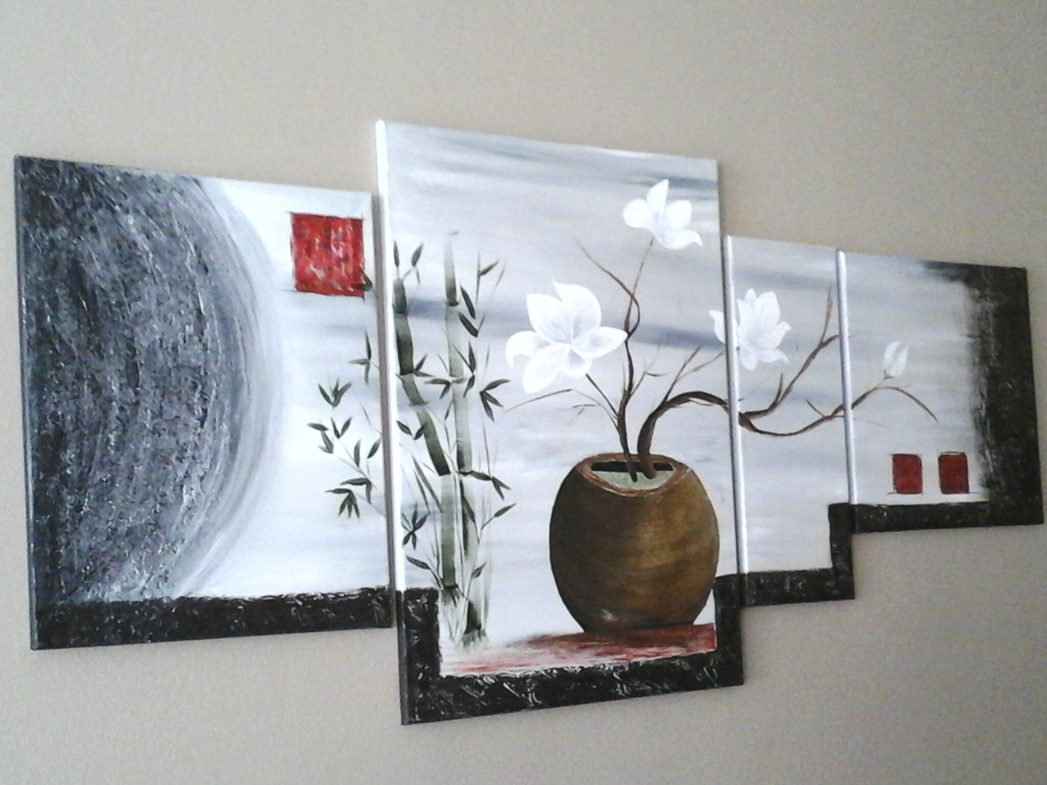 tableau quadriptyque zen la peinture en abstrait. Black Bedroom Furniture Sets. Home Design Ideas