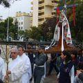 La Virgen llega en procesión hacia el colegio del Sagrado Corazón de Rancagua