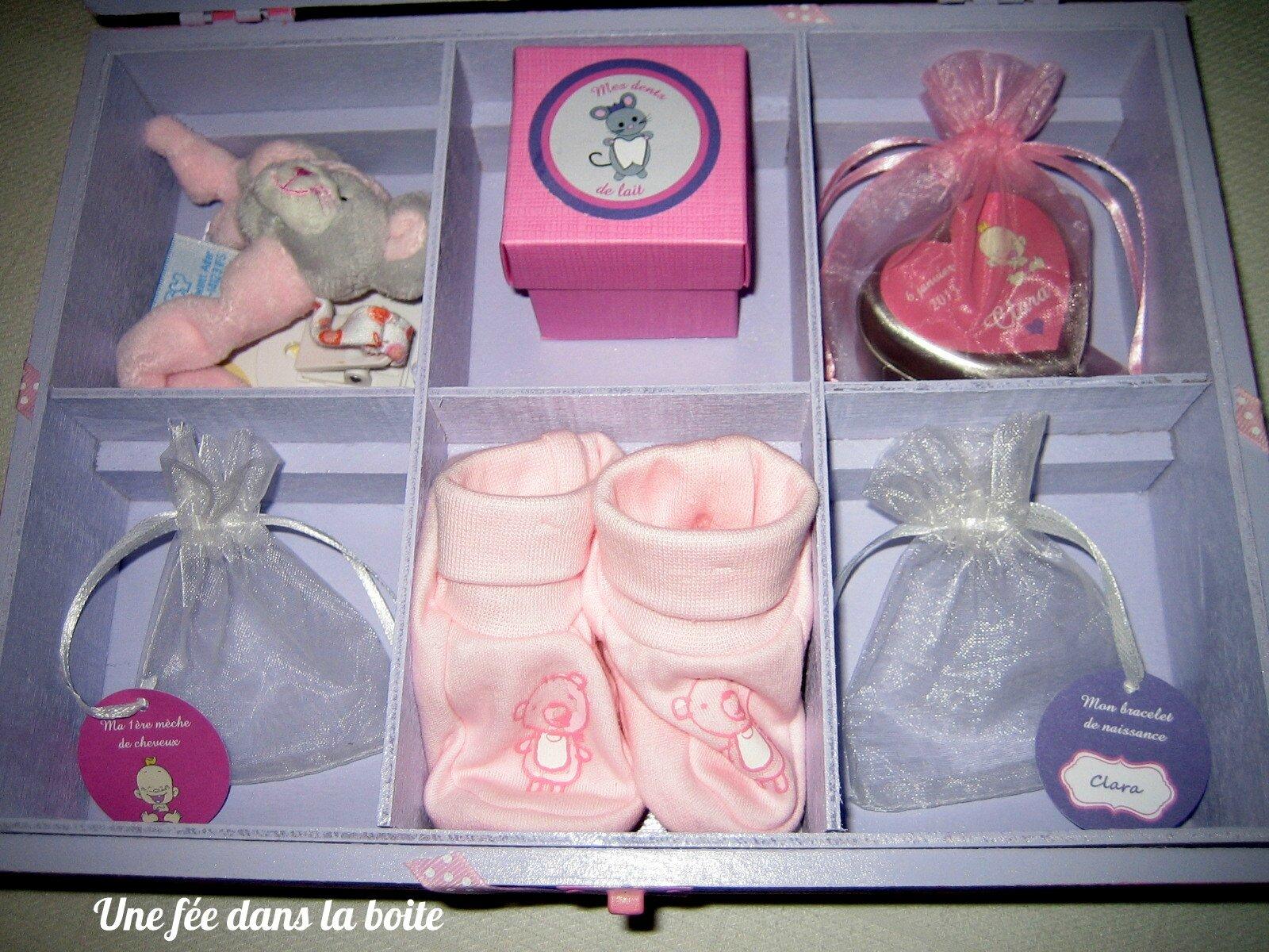baby box rose et mauve un cadeau de naissance tout doux une f e dans la boite. Black Bedroom Furniture Sets. Home Design Ideas
