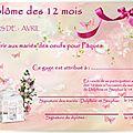 Diplôme de jeu des 12 mois (rose fushia et blanc)...