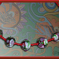 Collier fillette perles chinoises rouge et verte