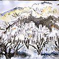 Village méditerranéen. Encre de chine et aquarelle