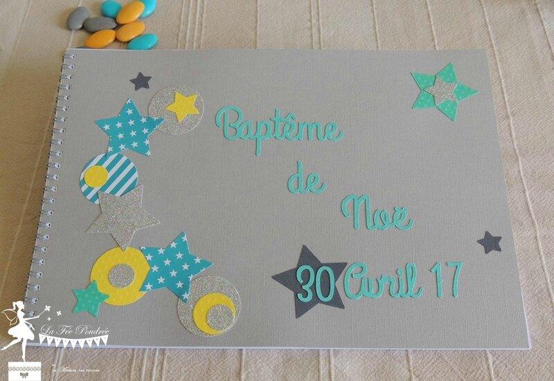 livre d or bapteme theme etoile turquoise jaune gris5