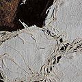 Débâcle sur le fleuve - Toile de lin Pénélope découpée et fils de trames - rebrodée machine et perlée