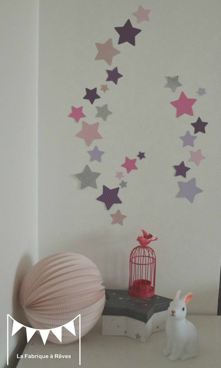 Lot stickers toiles parme violet rose argent d coration - Stickers etoile chambre bebe ...