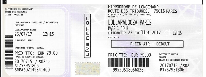 2017 07 23 Lollapalooza Paris Day 2 Longchamp Billet