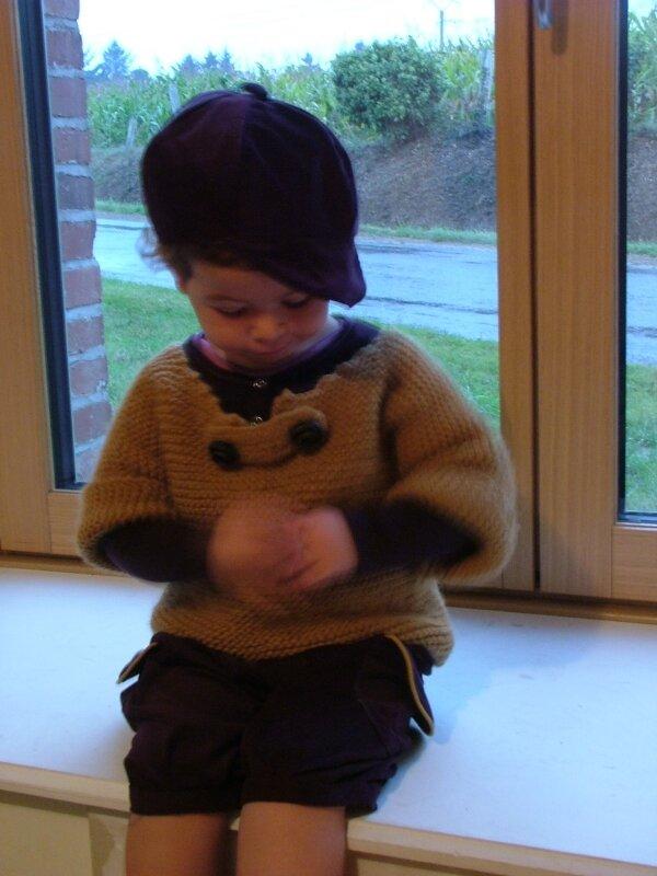 marinière laine +gavroche velours et short à grandes poches