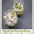 Salade de haricots blancs, cabillaud et pesto de roquette