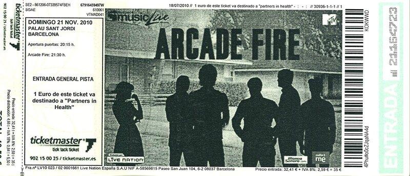 2010 11 Arcade Fire Palau Sant Jordi Billet
